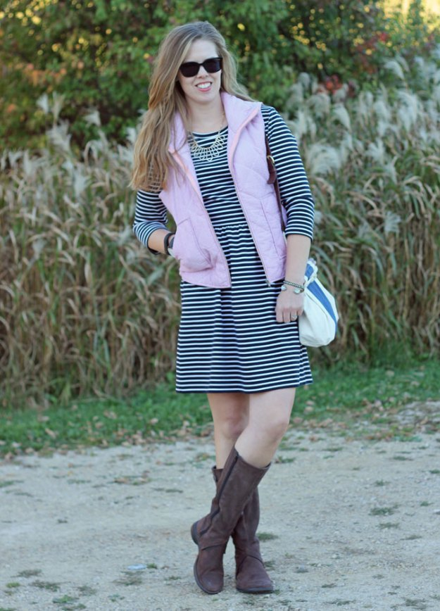Stripes on Stripes: black striped dress, pink seersucker vest, brown knee high boots