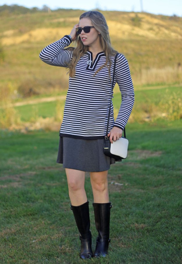 black-striped-sweater-grey-skirt
