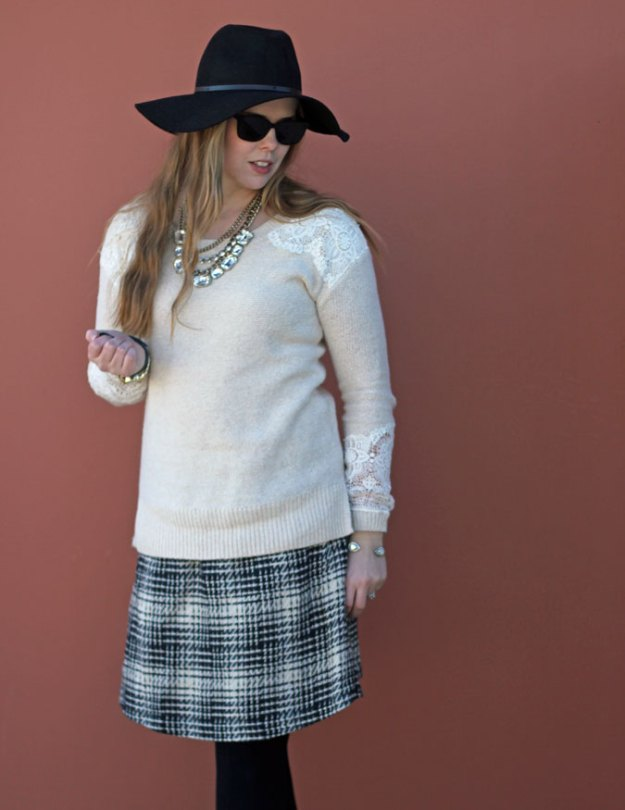 cream-lace-sweater-black-white-tweed-skirt-hat