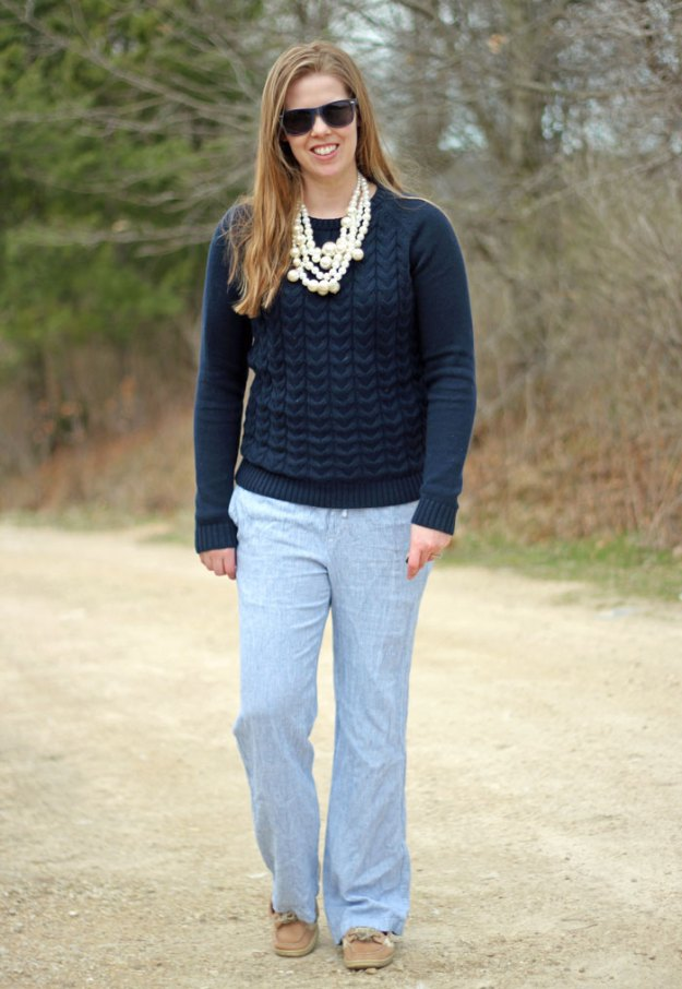 blue-sweater-blue-pinstripe-pants-pearls