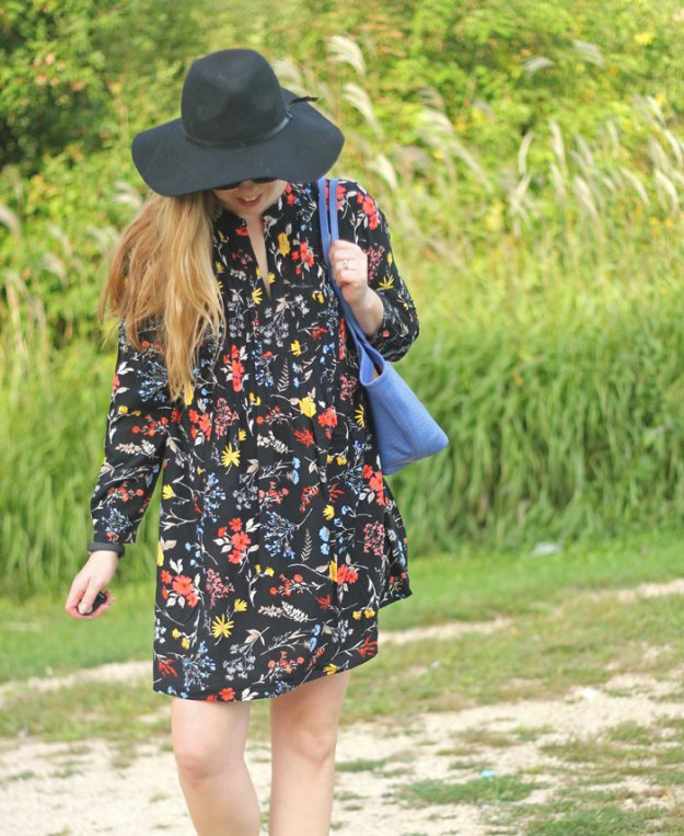 Fall Florals: black long sleeve floral dress, floppy hat, booties