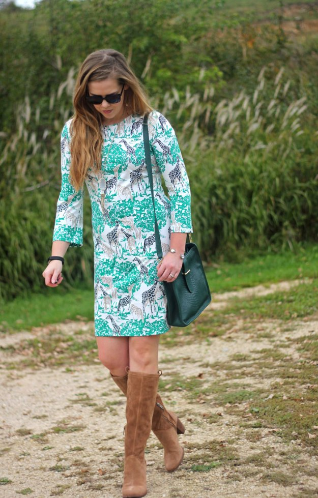 Melly M giraffe dress, UGG Ava boots, GiGi New York green purse | Puppies & Pretties