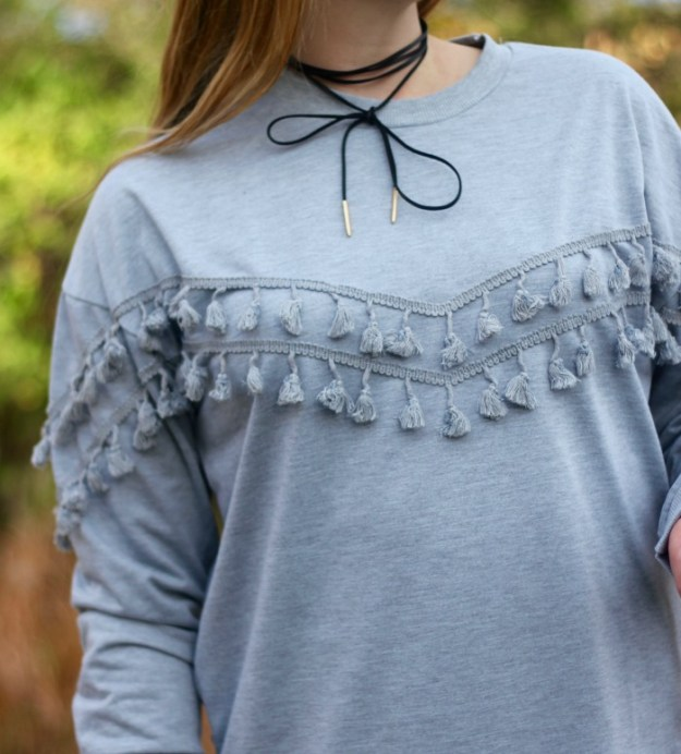 Grey tassel tunic sweatshirt from SheIn, leggings, booties, Happiness Boutique choker necklace | Puppies & Pretties