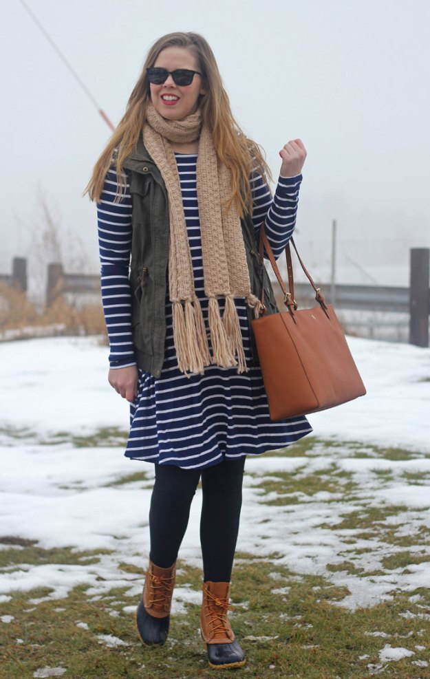 Utility Vest & Stripes: green utility vest, navy striped dress, scarf, LL Bean boots, Tory Burch tote | Puppies & Pretties