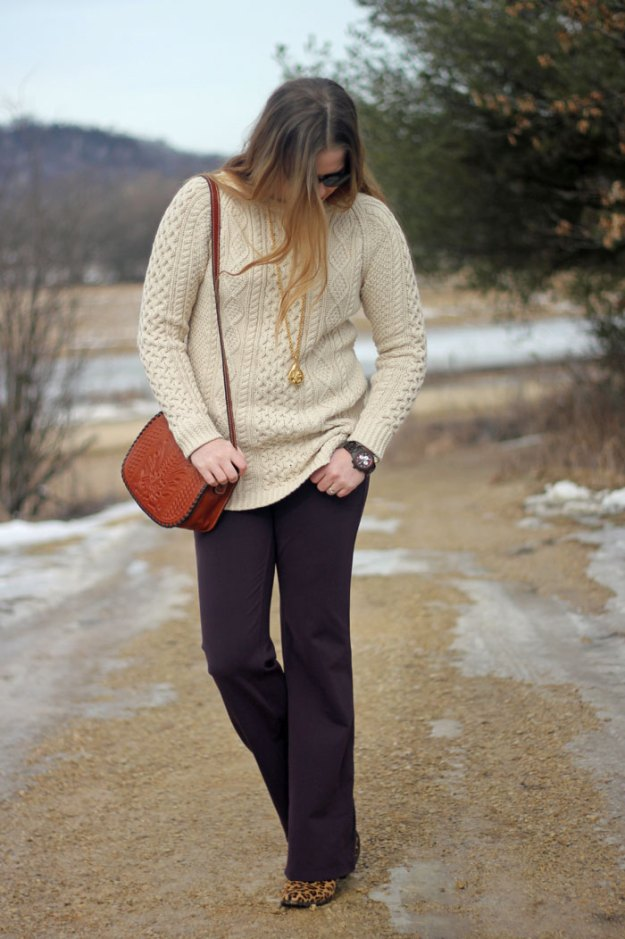 Winter Wardrobe: LL Bean fisherman sweater, Athleta pants, leopard booties, Julie Vos pendant, JORD wooden watch, Patricia Nash purse | winter style | Puppies & Pretties