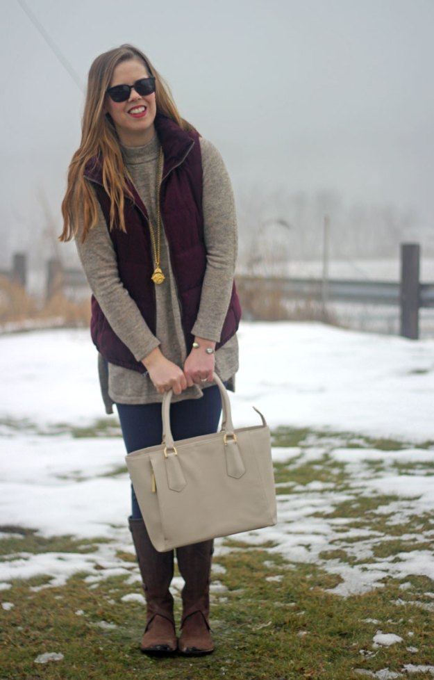 How to wear a maroon vest: Old Navy maroon vest, H&M sweater tunic, Lilly Pulitzer Mia leggings, Merrel boots, Julie Vos pendant, Dagne Dover mini tote   Puppies & Pretties
