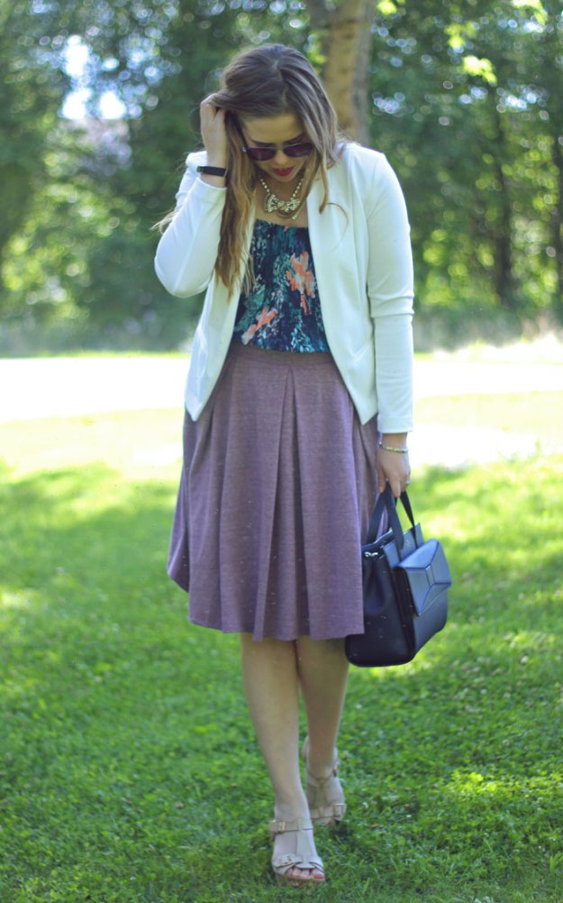 LuLaRoe Madison skirt and summer business casual | white blazer, purple LuLaRoe Madison skirt, printed Old Navy cami, Loren Hope Chloe bow necklace, Kate Spade bow bag | Puppies & Pretties