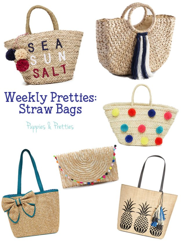 "Weekly Pretties: Straw Bags | Straw bags are the ""it"" bag this summer and I've pulled together some great options! 