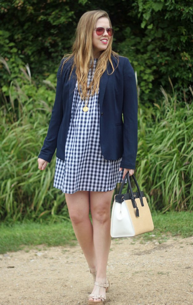 Gingham and a Blazer: SheIn gingham dress, navy blazer from Old Navy, Kate Spade straw satchel, Julie Vos coin pendant   Puppies & Pretties