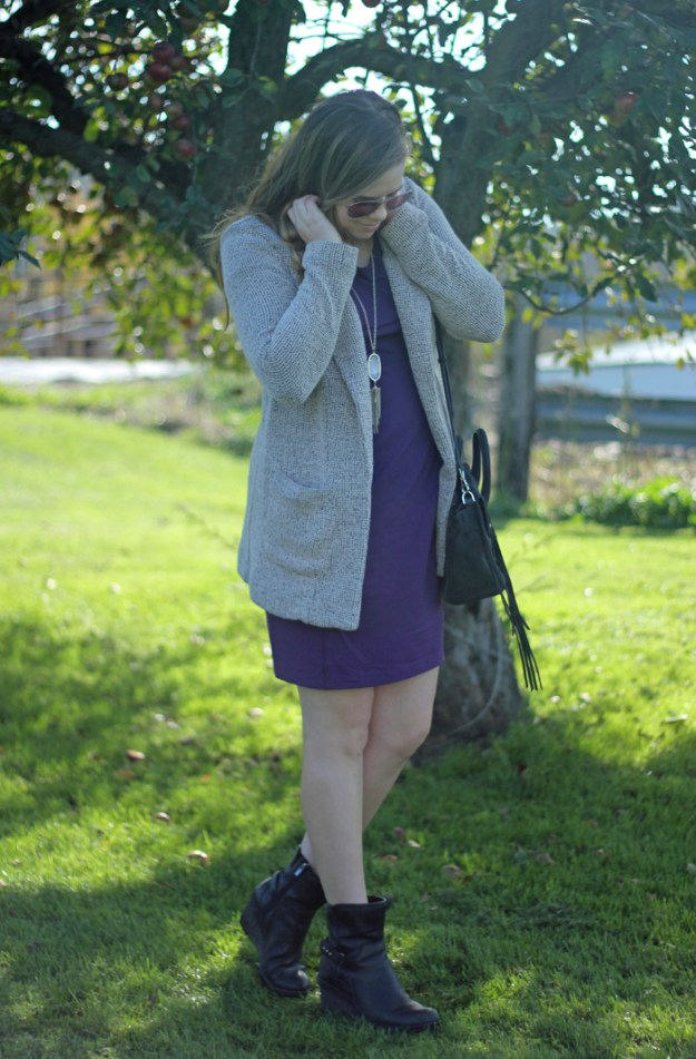 ASTR the Label Tweed Blazer with a purple Duluth Trading Company dress, Kendra Scott Rayne necklace, Clarks booties, and Rebecca Minkoff bag | Puppies & Pretties