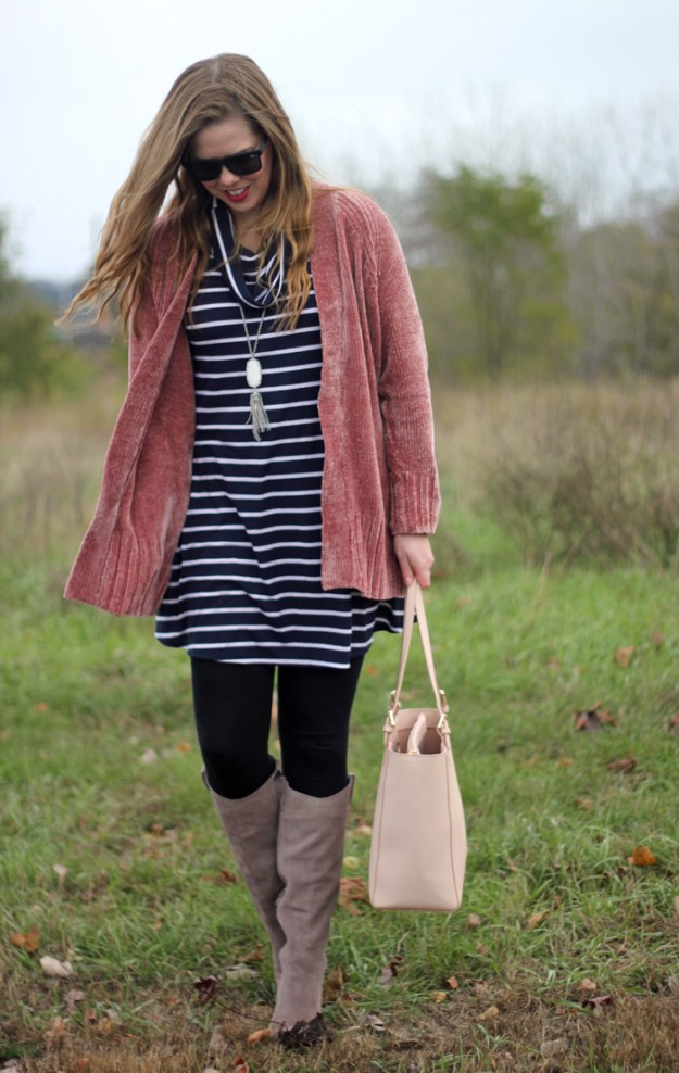 Navy stripes and pink: cowl neck striped dress, pink chenille cardigan, black leggings, taupe knee high boots, Tory Burch tote | Puppies & Pretties