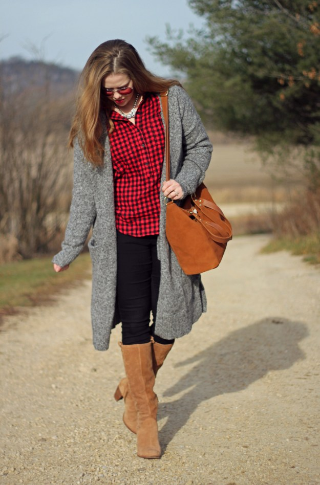Red Plaid and Neutrals: Old Navy plaid top, grey cardigan, black jeans, Ugg Ava boots, Loren Hope Chloe bow tie necklace   Puppies & Pretties