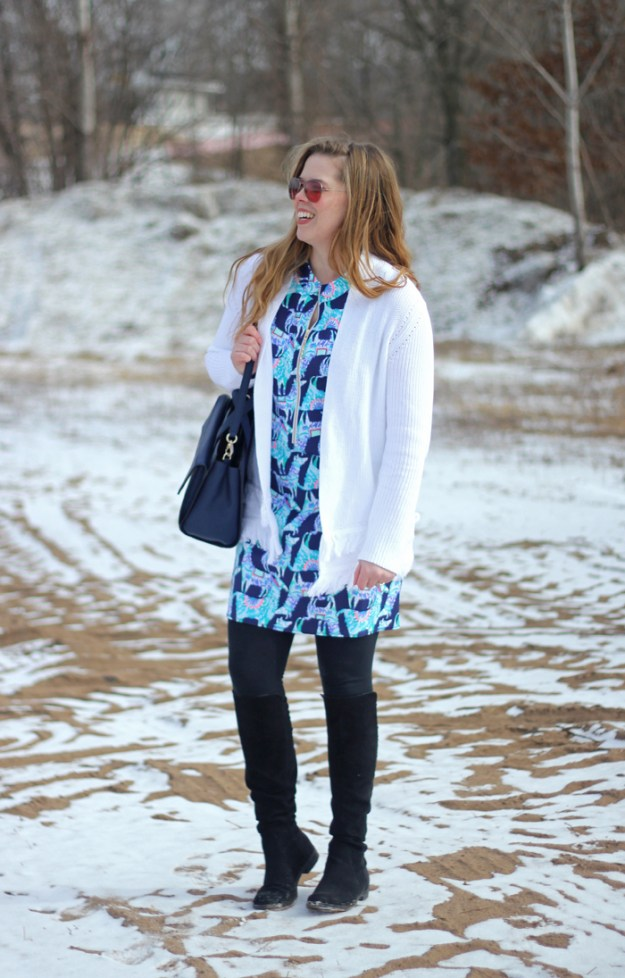 Alpaca My Bags: Lilly Pulitzer Opal dress, Lilly Pulitzer white fringe cardigan, black leggings, black OTK boots, Kate Spade bow bag   Brighten up winter with a great Lilly Pulitzer look   Puppies & Pretties