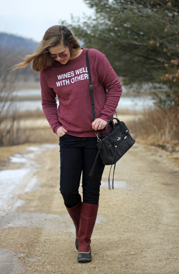 Wines Well With Others: sweatshirt via Taylor Wolfe shop, Wit & Wisdom jeans, Sorel Slimpack riding boots, Rebecca Minkoff purse | Puppies & Pretties