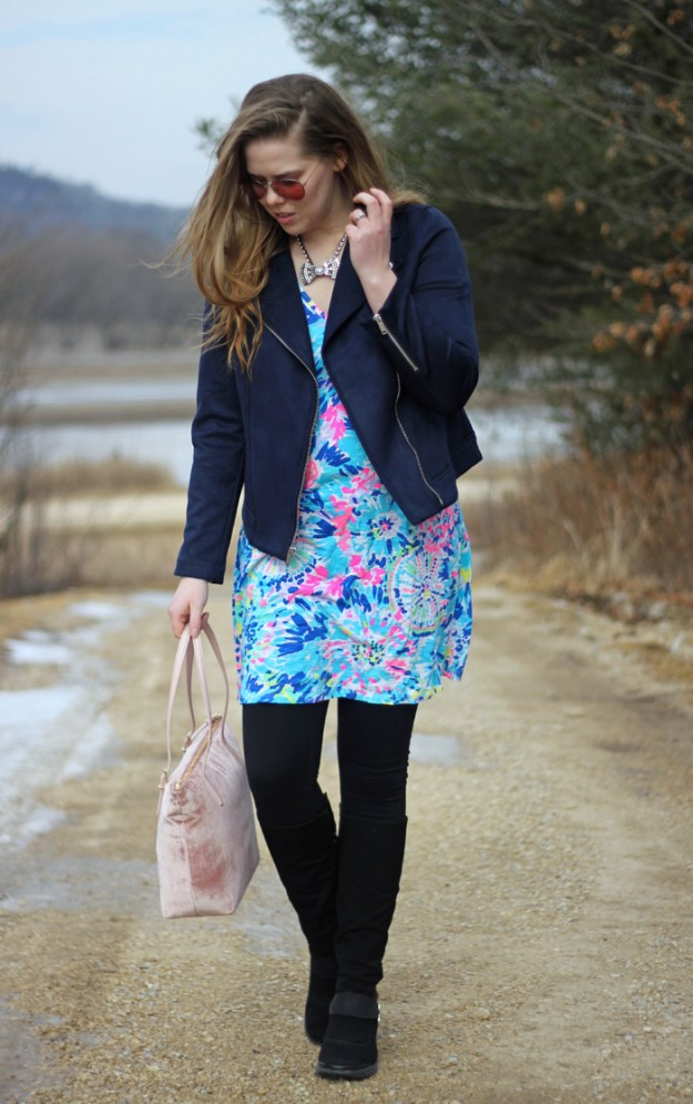 Navy Moto Jacket: navy moto jacket from Old Navy, Lilly Pulitzer Jessica dress, Bzees boots, Kate Spade pink velvet bag, Loren Hope Chloe bow tie necklace | Puppies & Pretties