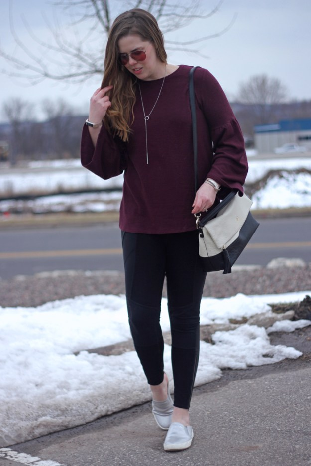 Athleisure at Work: maroon bell sleeve top, Athleta leggings, Happiness Boutique minimalist necklace, silver Naturalizer slip ons, Kate Spade bag | Puppies & Pretties