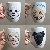 pet gift idea image of personalized ceramic mug with dog's face