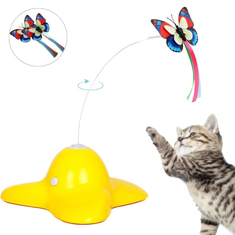 gift for cat, image of bascolor electric rotating butterfly cat toy