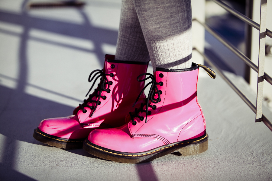 Outfit photo of Ren's hot pink lamper Dr. Martens, credit to Deb.