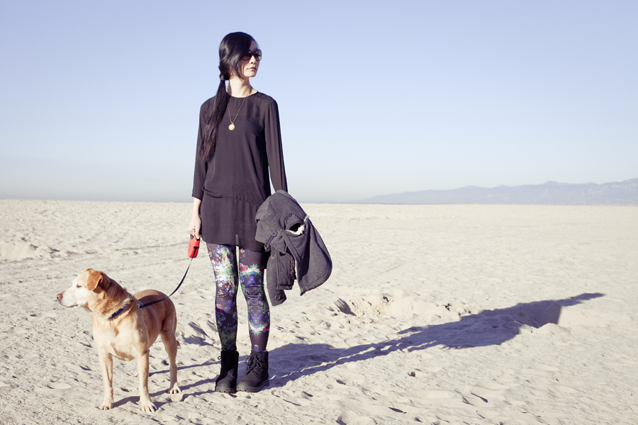 outfit of the day: h&m black chiffon dress, h&m leggings, fila boots. At the beach with Annabel the dog.