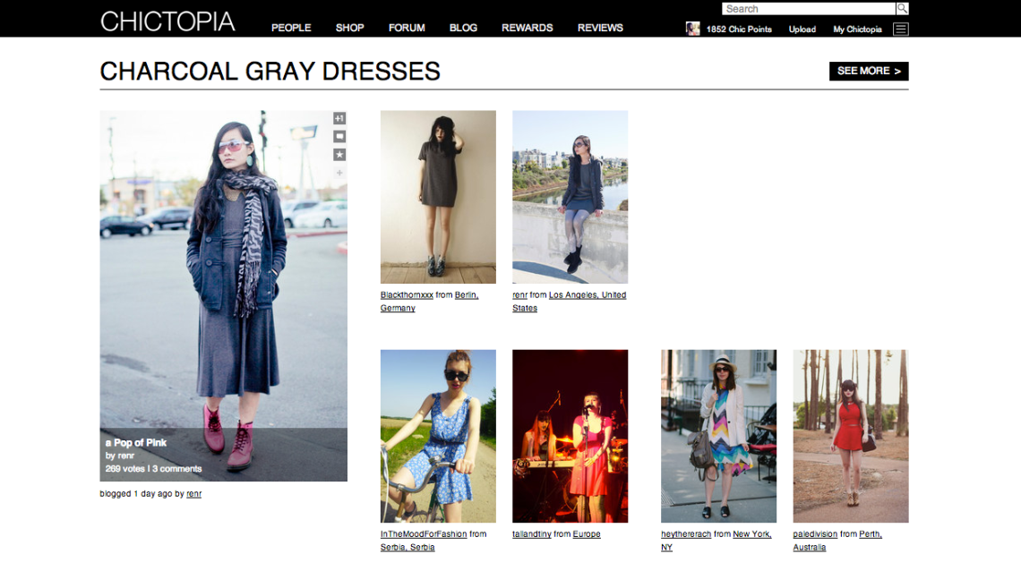 Two of my outfits featured on the front page of Chictopia.