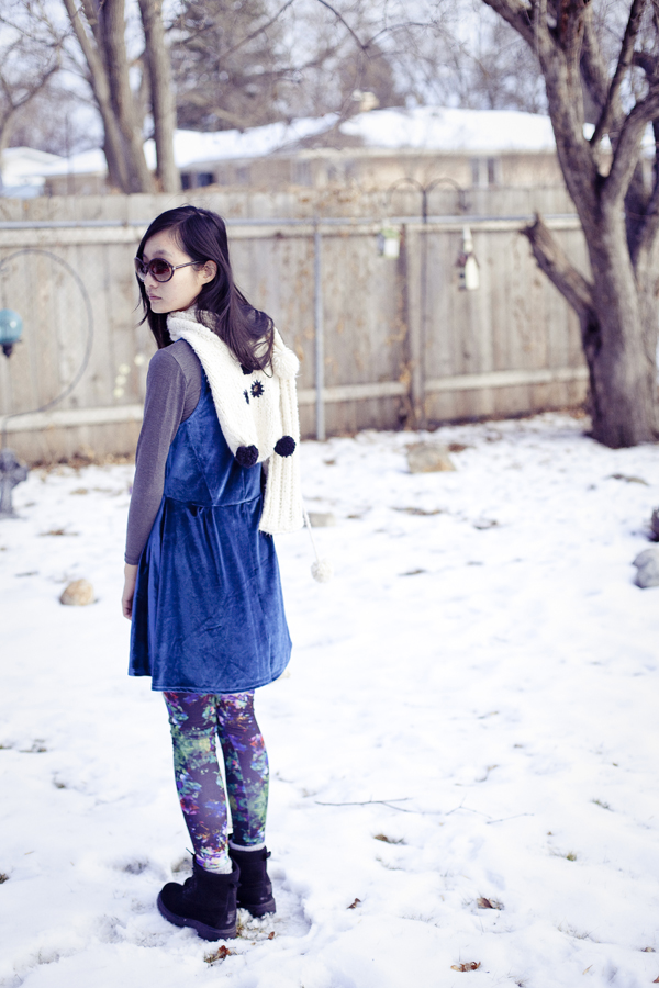 Outfit of the Day: Cotton On's velvet dress, Uniqlo's HEATTECH, River Island's panda scarf, H&M's printed leggings.