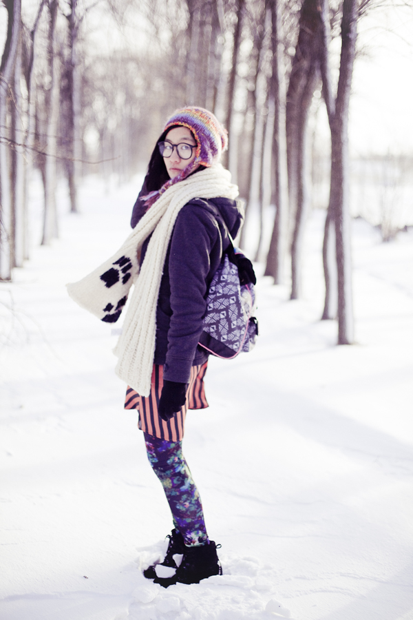 Winter self-portrait photoshoot. Outfit details: Forever21 silky striped dress, Dollhouse grey jacket, gifted River Island panda hood scarf, H&M abstract printed leggings, Forever21 striped beanie with pom pom, Fila black men's boots, T-shirt & Jeans geometric printed knapsack.
