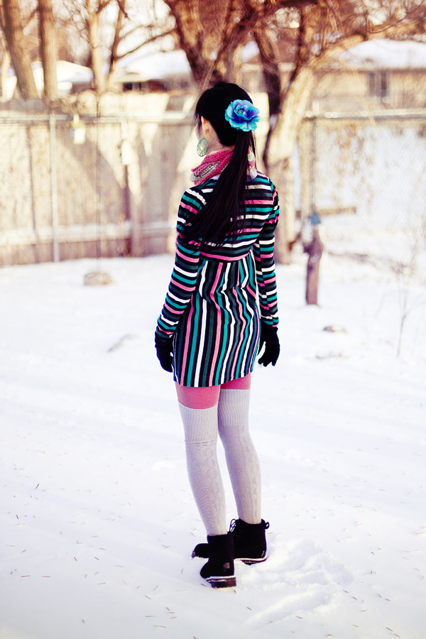 Photoshoot outfit: Vogue striped princess sleeves dress, Urban Outfitters solid salmon tights, Cotton On grey knee-high socks, Fox striped zigzag scarf, Forever21 accessories (turquoise flower hair clip & jade green chinese earrings), Dollhouse grey jacket, Fila black men's boots.