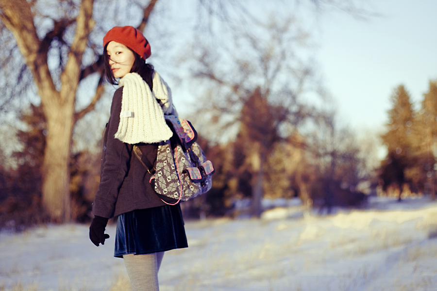 Outfit photoshoot   The Red Beret: Cotton On blue velvet dress, Doll house grey jacket, gifted River Island panda hood scarf, Parkhurst red beret, Uniqlo HEATTECH grey knit tights, Fila black men's boots, T-shirt & Jeans geometric printed knapsack.