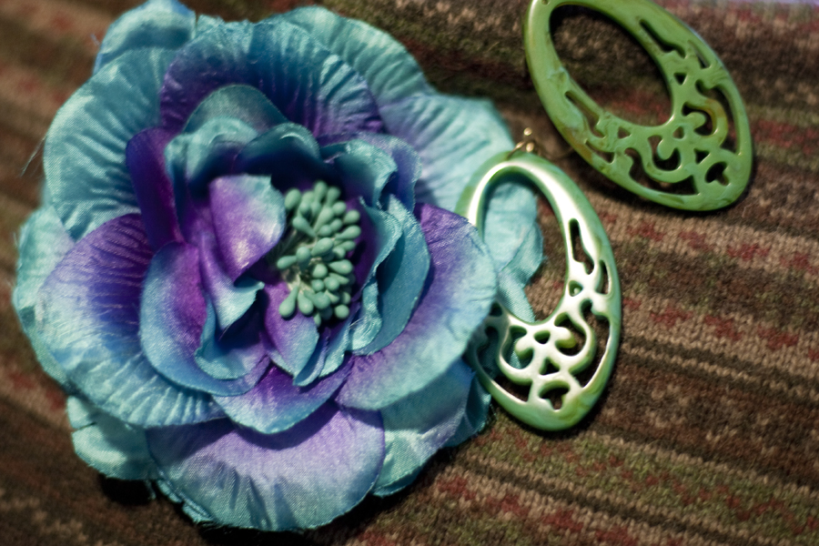 Close-up of Forever21 accessories (turquoise flower hair clip & jade green chinese earrings)