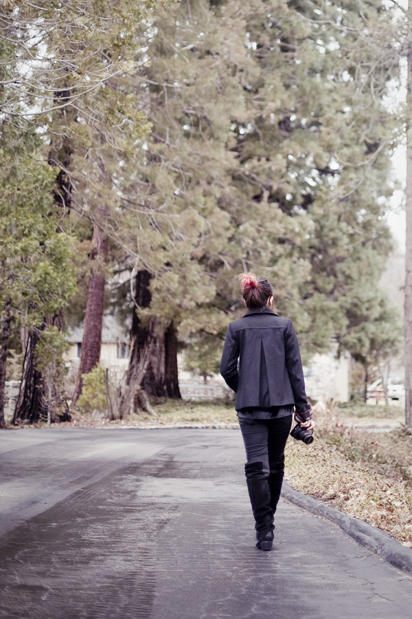 Jac walking down a path in the UCLA Conference Center at Lake Arrowhead.