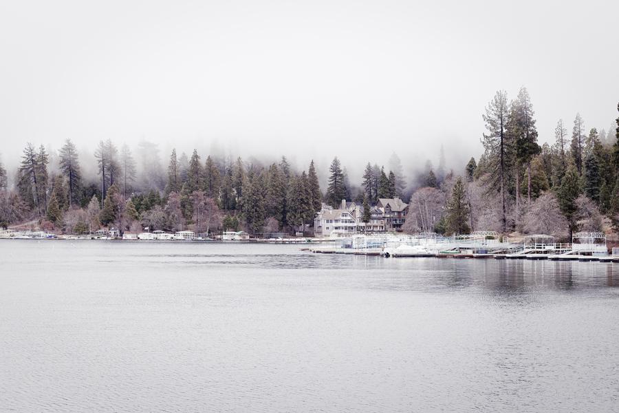 Fog settles on the banks of Lake Arrowhead.