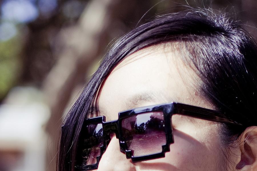 Outfit details: geeky 8-bit pixel sunglasses.