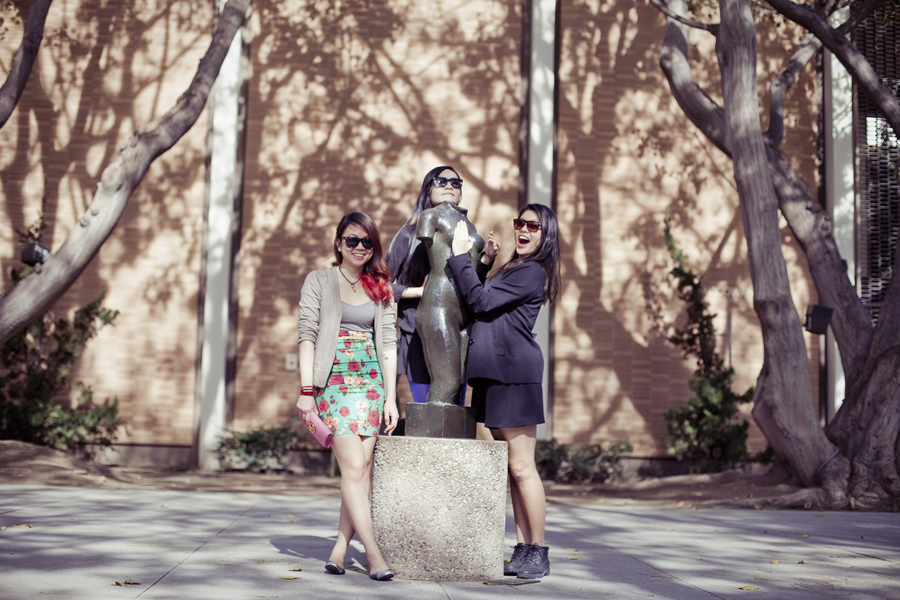 Posing with a headless statue at the Franklin D. Murphy Sculpture Garden in UCLA.