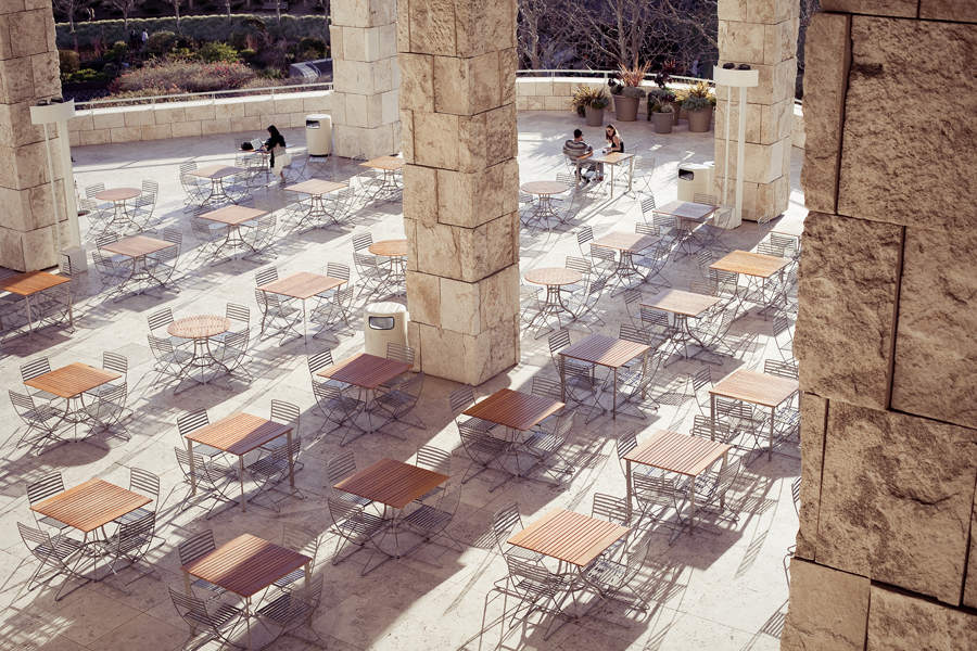 Top down view of tables at the Getty Center, Los Angeles.