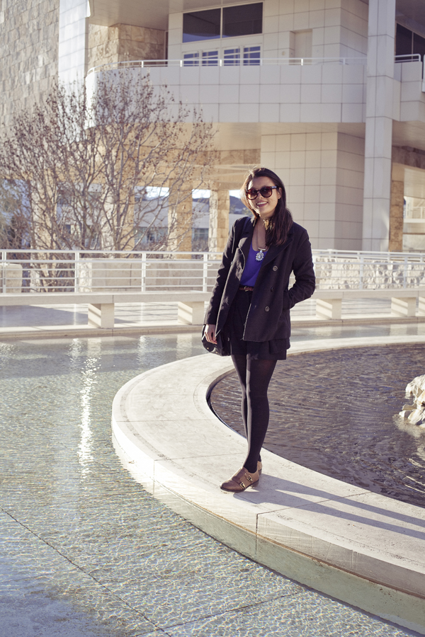 Deb at the small pond of the Getty Center, Los Angeles.
