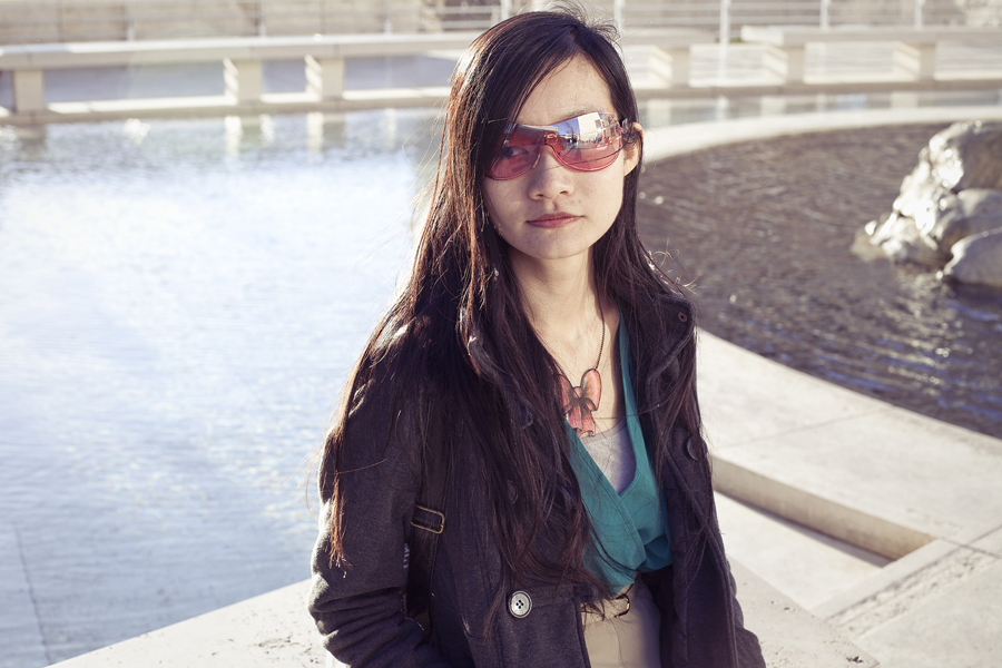Ren at the small pond of the Getty Center, Los Angeles. Outfit details: Forever21 chiffon green tan romper, La Marelle pink bow metal necklace, Uniqlo grey bra-top camisole, Dollhouse grey jacket..