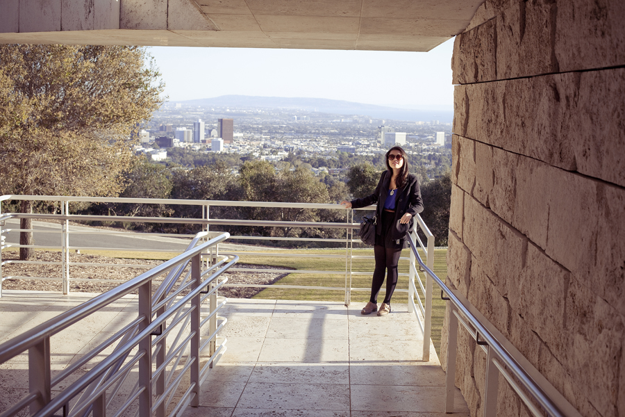 Deb at the Getty Center, Los Angeles.