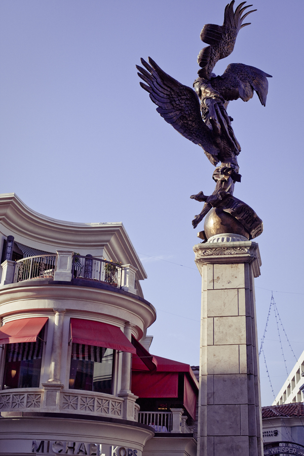 Statue and building at The Grove in Los Angeles.