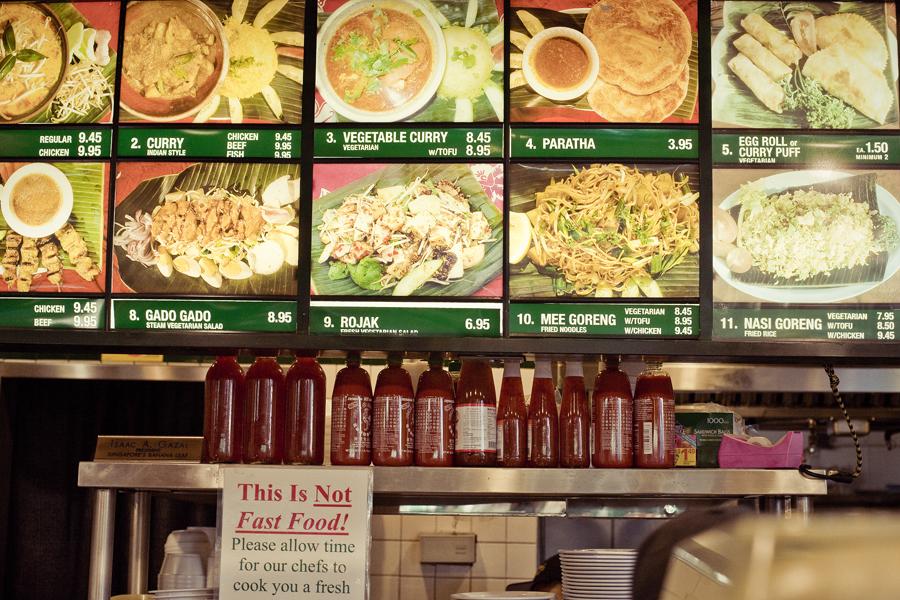 Singapore Banana Leaf menu at The Grove, Los Angeles.