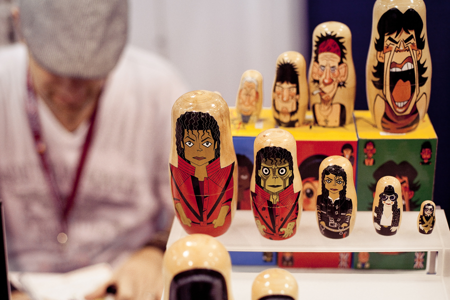 Pop culture matryoshka (nesting dolls) by Stephen Silver at Wondercon 2013.