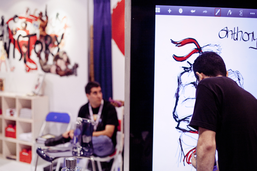 Drawing demonstration on a larger-than-life tablet at Wondercon 2013.