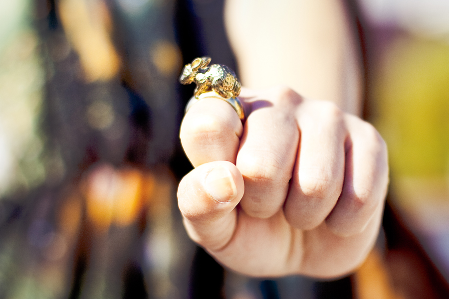 H&M gold rabbit ring.