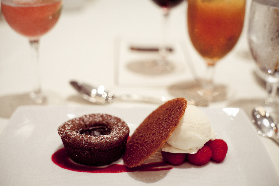 Dessert at the Beverly Hills Film Festival awards ceremony at the Four Seasons Hotel: Chocolate Truffle Cake, raspberries and White Chocolate Sorbet.