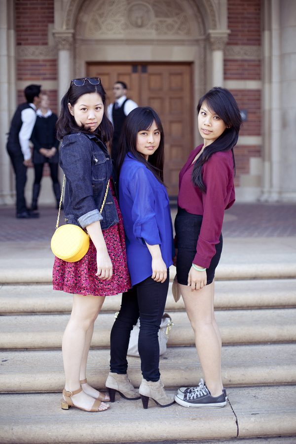 Chie, Ssen and Lilli doing the Ren pose in front of Royce Hall, UCLA.