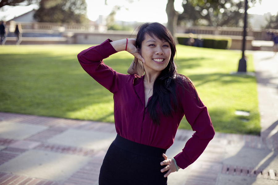 Lilli posing in Ela's maroon blouse at UCLA.