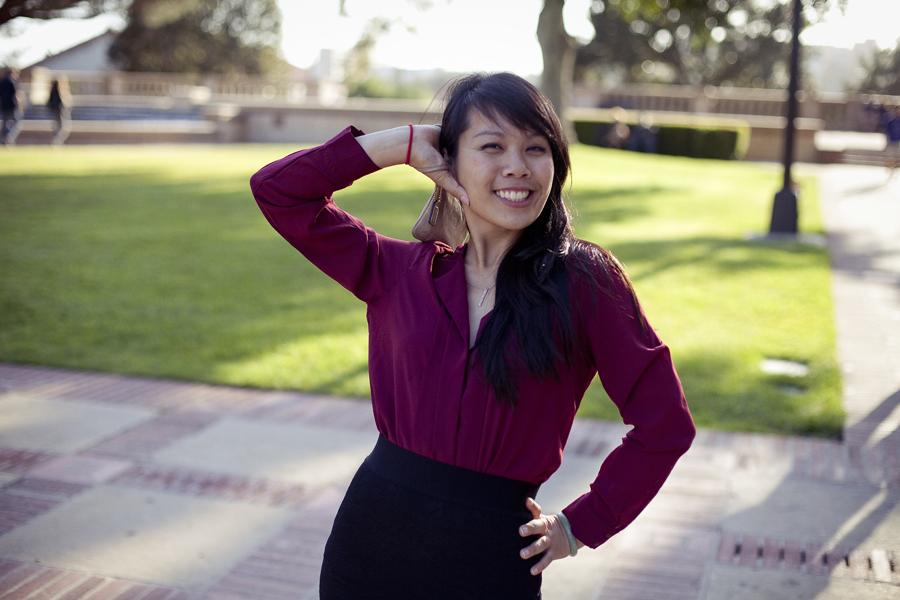 Lilli posing in Ela's maroon blouse at UCLA.