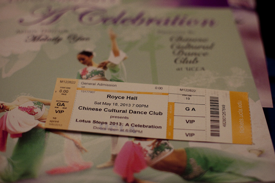 Lotus Steps 2013: A Celebration ticket for the Chinese Cultural Dance Club performance at Royce Hall, UCLA.