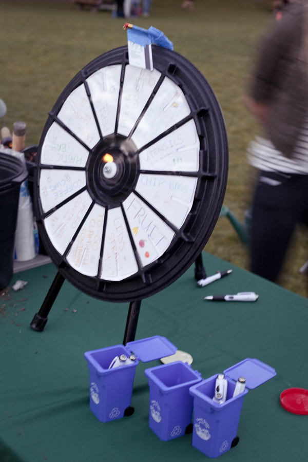 Spin-the-wheel game to guess which item falls into the trash, recyclables, or compost category at Ecochella in UCLA.