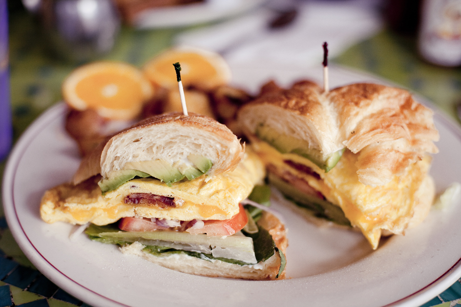 Sunrise Sandwich with a side of potato wedges at the Novel Cafe in Westwood, Los Angeles.